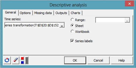 time series desc dialog box