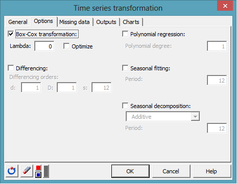 time series transformation dialog box 2