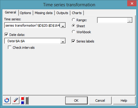 time series transformation dialog box 3